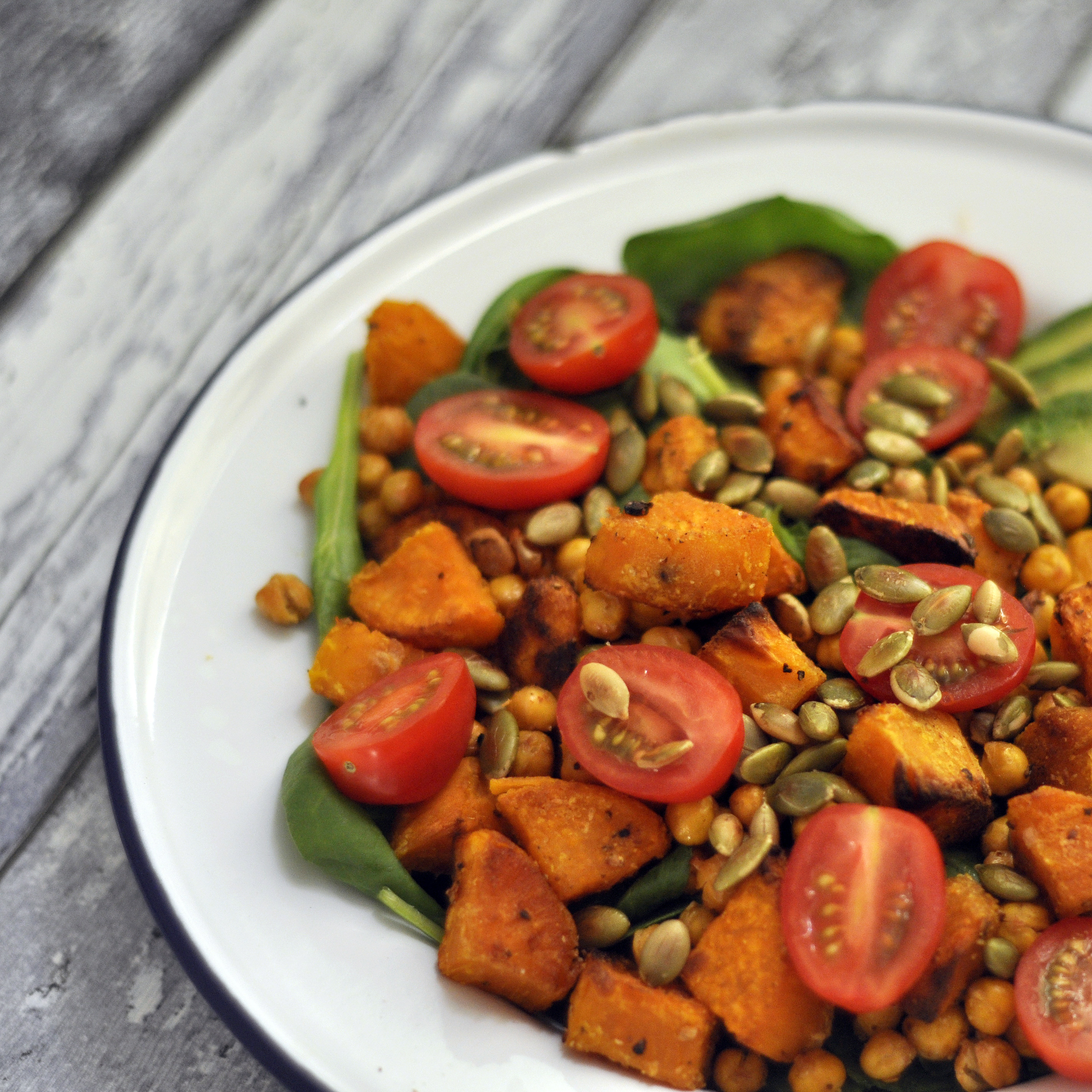Roasted Sweet Potato & Chickpea Salad