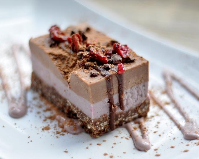Vanilla, Raspberry, Cacao Raw Cake, Pumpkin Brown